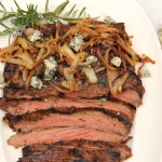 Balsamic and Rosemary Grilled Flank Steak with Caramelized Onions and Gorgonzola