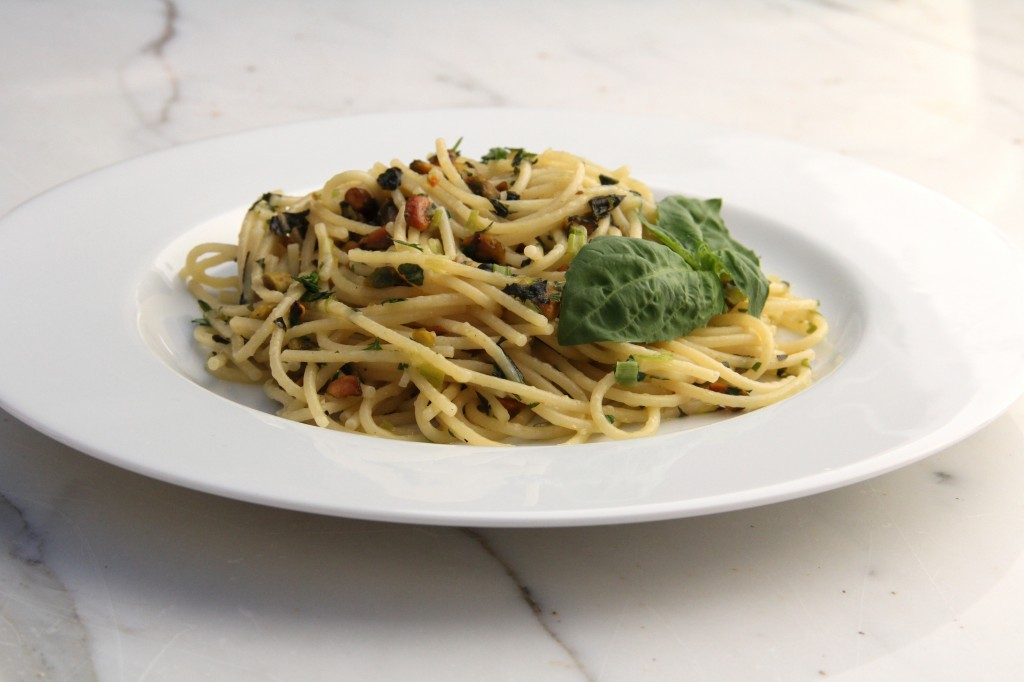 Summertime Pistachio and Fresh Basil Pasta