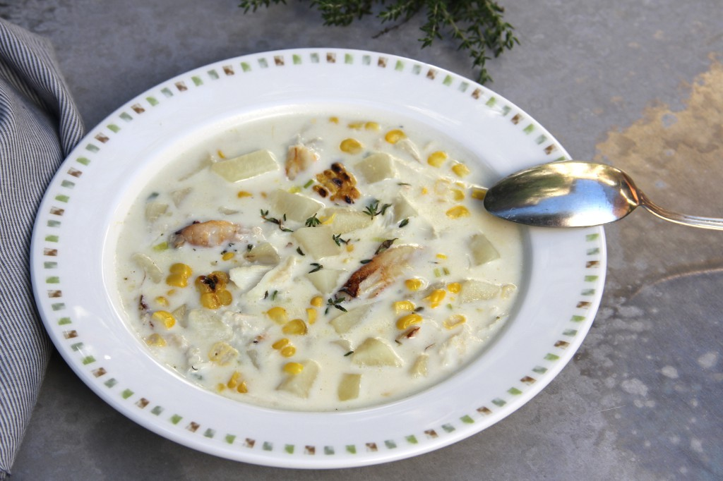 Grilled Corn Chowder with Dungeness Crab