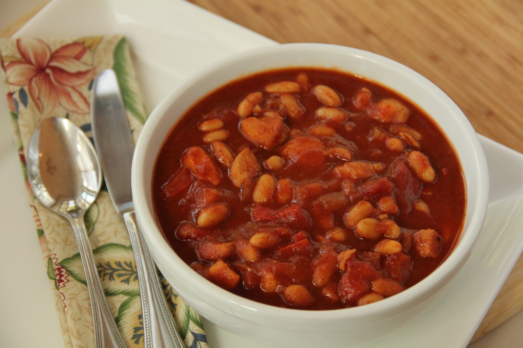 Chicken and White Bean Chili Simmered with Beer