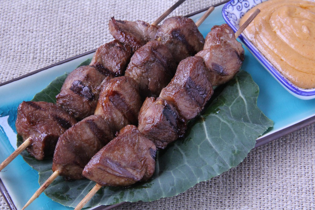 Thai-Style Pork Tenderloin Skewers with Peanut Sauce