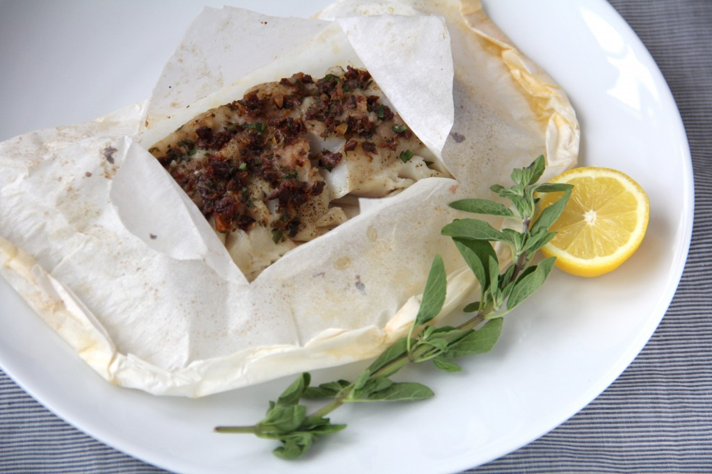 Fresh Cod Baked in Parchment with Mediterranean Butter