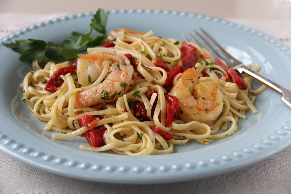 Prawn and Roasted Red Pepper Linguini
