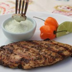 Grilled Jerk Chicken with Cilantro Lime Sauce