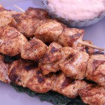 Rubbed Chicken Skewers with Chipotle Dipping Sauce
