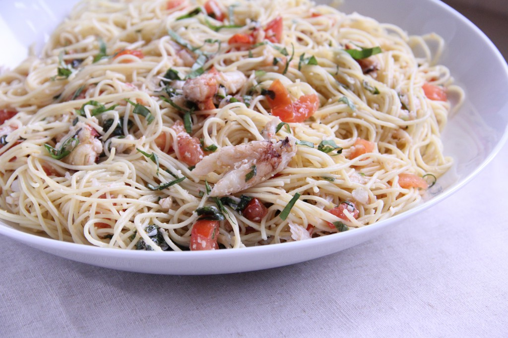 Angel Hair Pasta with Dungeness Crab, Tomatoes and Basil