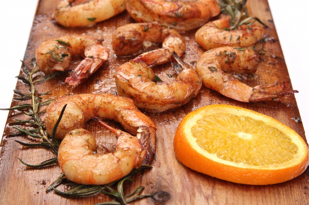 Rosemary Orange Planked Shrimp