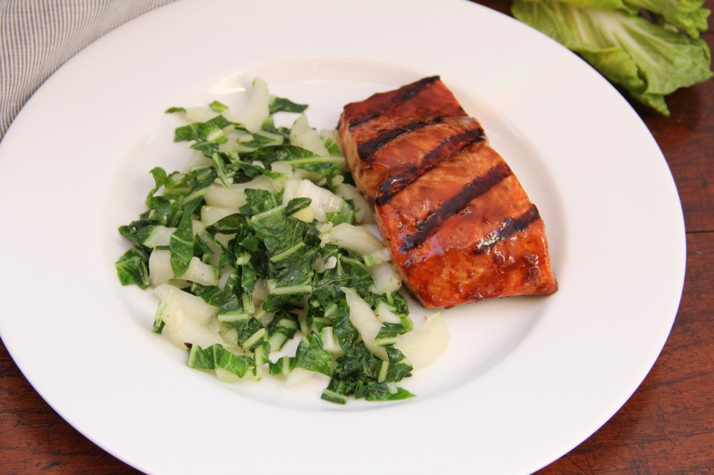 Asian Glazed Grilled Salmon with Sauteed Bok Choy