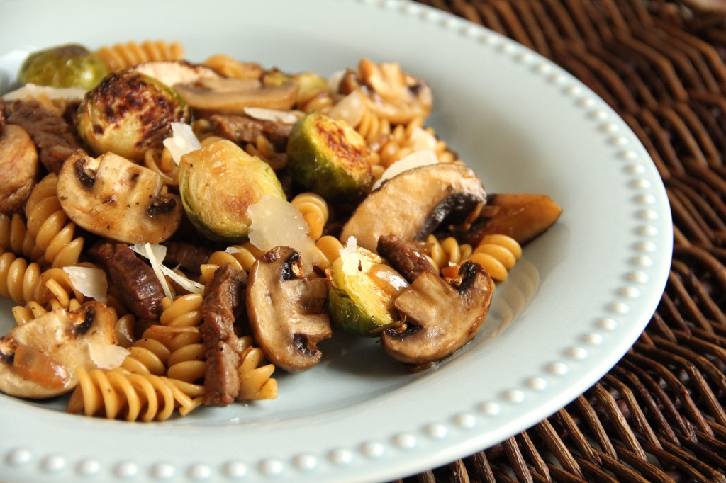 Skillet Pasta with Roasted Brussels Sprouts and Mushrooms
