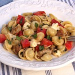 Orechiette with Heirloom Tomatoes, Basil and Chicken Sausage