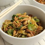 Shaved Brussels Sprouts Ginger Chicken Noodle Bowl