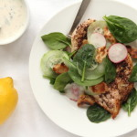 Sumac Seared Chicken with Spinach and Tahini Honey Lemon Dressing
