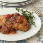 Pan Seared Chicken with Rhubarb Thyme Sauce