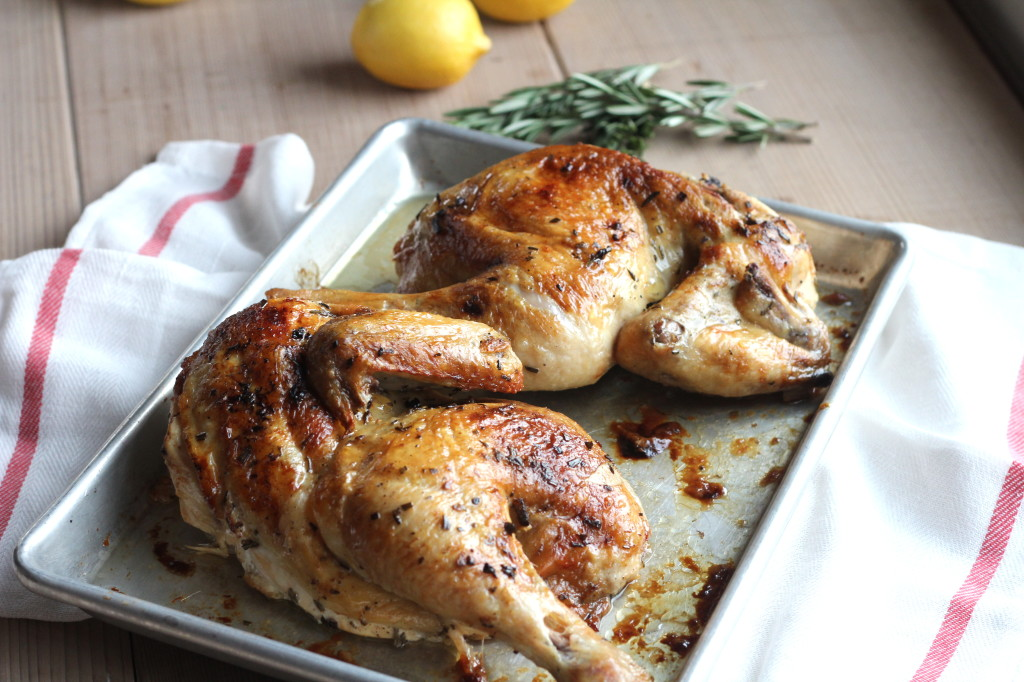 Rosemary Lemon Split Roast Chicken