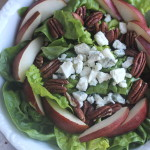 Butter Lettuce Salad with Red Pears, Roast Pecans and Gorgonzola